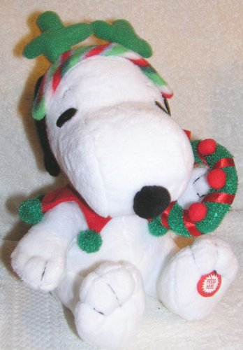 Peanuts Animated Musical Snoopy Doll with Reindeer Antlers and Wreath for Christmas
