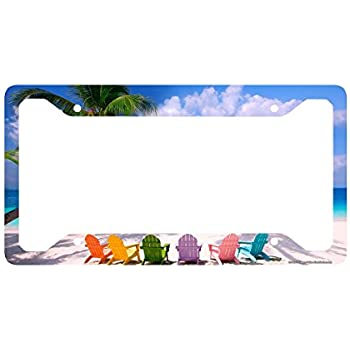 Amazon.com: Airstrike Beach License Plate Frame, Beach License Plate ...