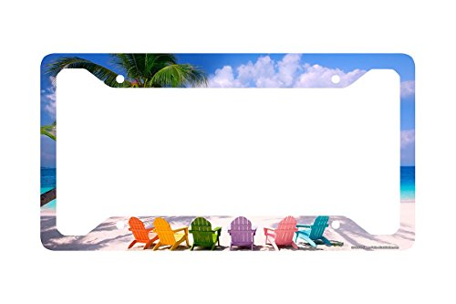 Airstrike Beach License Plate Frame, Beach License Plate Holder, Beach Car Tag Frame Beach Chairs-30-543 ()