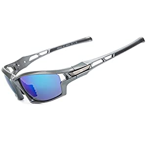 Shieldo Polarized Sports Sunglasses For Men And Women Running Cycling Fishing, Mirrored Integrated Polarized Lens Unbreakable Frame SQS002(Silver-Blue)