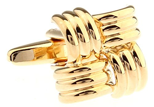 Men's Executive Cufflinks Classic Collection Gold Tone Four Striped Square Cuff Links ()