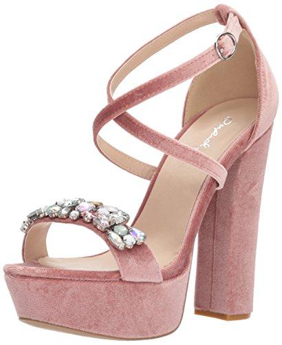 Qupid Women's Platform Sandal Heeled, Blush Velvet, 7 M US