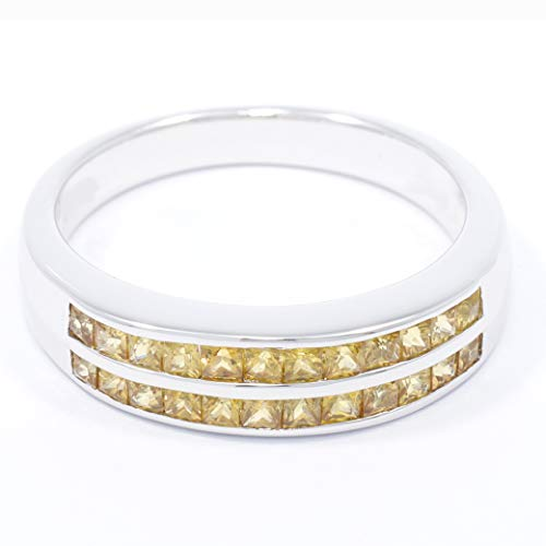 - TIAMO Classic Elegant Ring Genuine Natural Yellow Sapphire0.87cts. Silver Rhodium Plated Nickel-Free Women Size 4 to 14