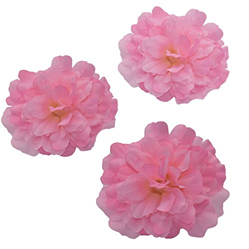 HZOnline Artificial Silk Peony Flower Heads, Fake Stemless Head Floral Bouquet for Crafts Wedding Wrist Flower Decoration DIY Making Beach Shoes Hair Clips Headbands Photography Props (10pcs Pink)