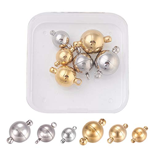 PH PandaHall 6 Sets 4 Sizes 304 Stainless Steel Round Magnetic Clasps Magnet Converter for Bracelet Necklace Making(Stainless Steel Color, Golden)