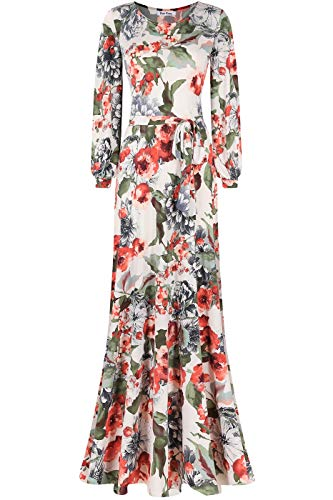 Bon Rosy Women's MadeInUSA Long Sleeve Printed Maxi Floral Dress Ivory Rust M
