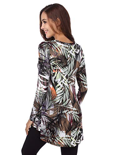 BaiShengGT Women's Flared Comfy Loose Fit Tunic Top X-Large T06 Green Print by BaiShengGT (Image #4)
