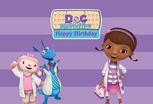 Eric 7x5ft Doc McStuffins Party Scene Setter Photo Photography Backdrop Children Baby Girls Birthday Party Photo Banner Background Studio Props -