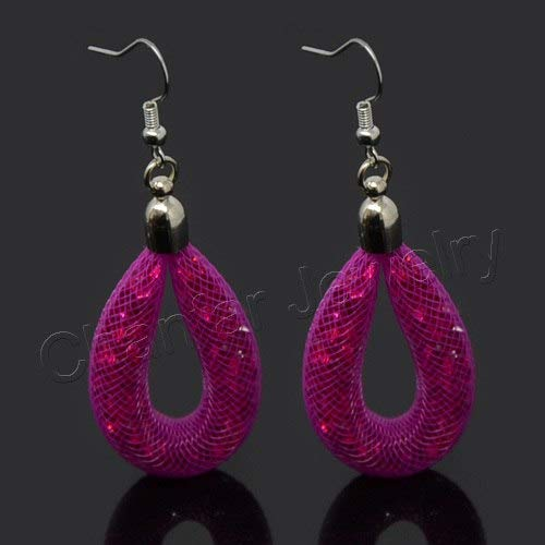 Baguio-Store - sale Drop Mesh earring with tiny stones filled dangle Tube Crystal Earring ()