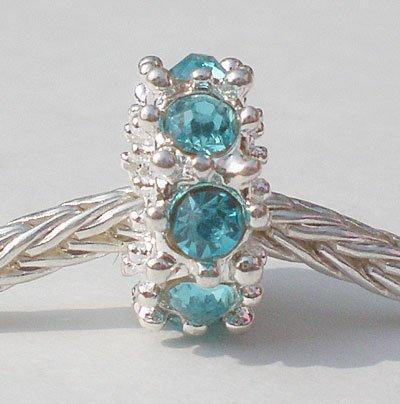 Andante-Stones 925 perle Argent avec 8 cristaux turquoise Élément bille pour perles European Beads + Étui en organza