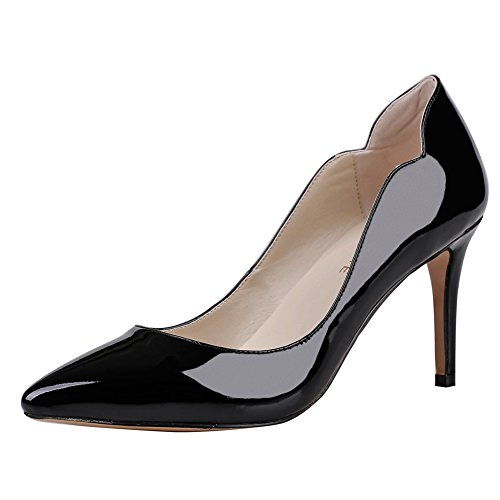 Heels Dress Daily Patent Black Pumps Pointed for Thin Women's Shoes Toe Middle Heels MERUMOTE BTECB