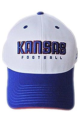adidas Kansas Jayhawks Football White Blue Hat Cap NWT Adjustable Strap OS