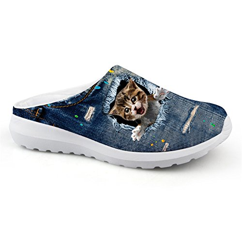 Nopersonality Fashion Denim Animal Cat Pattern Blue Summer Slipper Anti-Slip Sandals Garden Shoes Cat Print3 9EErTbz7jv