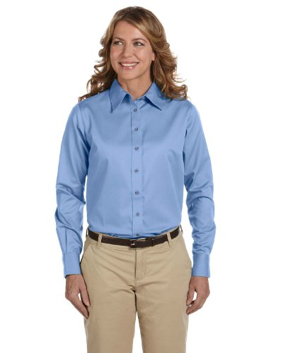 - Harriton Long-Sleeve Twill Shirt with Stain-Release (M500W) -LIGHT COLL -XL