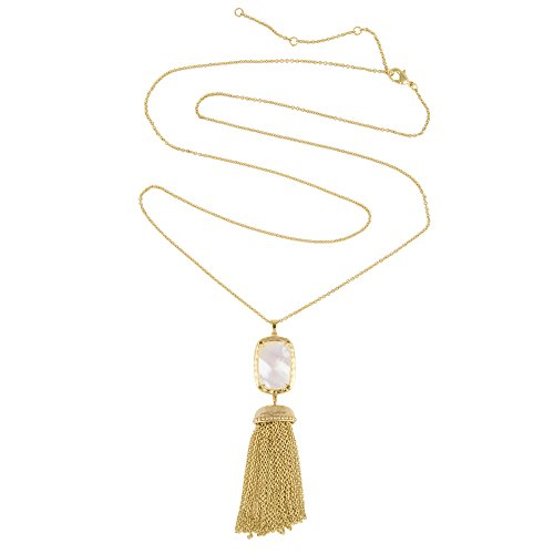 Rectangle Opaque Stone Gold Tone Tassel Pendant Necklace (Mother of Pearl) ()