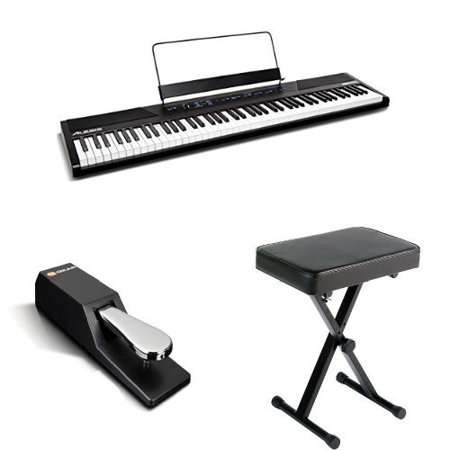 alesis recital 88 key beginner digital piano with full size semi weighted keys and included. Black Bedroom Furniture Sets. Home Design Ideas