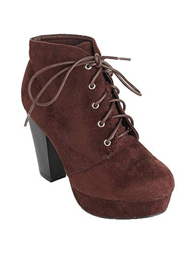 Forever Camille-86 Women's Comfort Stacked Chunky Heel Lace Up Ankle Booties Brown Ts (10) (Pine Booties)
