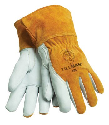 Tillman 48L Large Brown Top Grain Goatskin Fleece Lined Standard Grade MIG Welders Gloves With Straight Thumb, 3 1/2' Cuff, Kevlar Stitching And Elastic Back (1/PR) by John Tillman & Co 3 1/2 Cuff