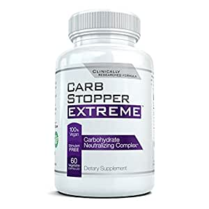 CARB STOPPER EXTREME - High Performance Carbohydrate & Starch Blocker Formula/Diet, Fat Loss, Slimming Supplement with White Kidney Bean Extract.