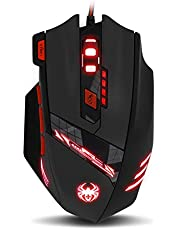 Zelotes T90 Gaming Mouse Wired [9200 DPI] [Breathing Light] [Weight Tuning Set] High Precision USB Computer Mice, 8 Buttons for Desktop Laptop PC Mac Gamer, Black.