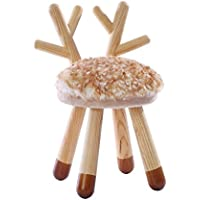YouHi Children Solid Wood Stool with Memory Cotton Cushion Animal Appearance Modeling Chair for Reading and Eating (Deer)