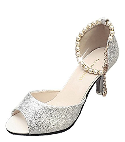Maybest Women Elegant Fish Mouth Thin High Heels Sandals Rhinestones Pearl Beads Ankle Strap Mid Heels Shoes Stilettos Silver 8 B (M) US