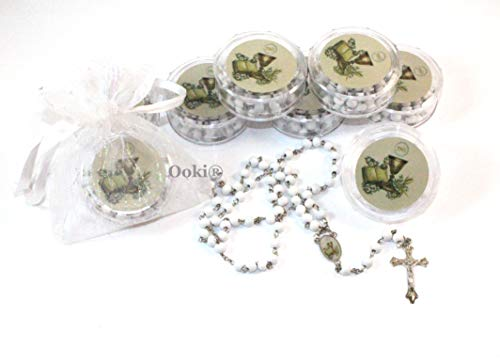 12pcs Scented JHS IHS Jesus Cup Bible Rosary in Case Beads Scent White Beaded Rosary Silver Catholic Crucifix Necklace Baptism Favors Recuerdos De Bautizo Gift Party Bag Car