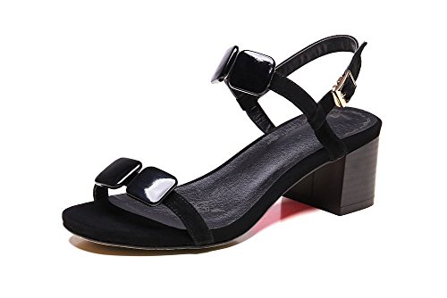 BalaMasa Girls Romanesque Style Open-Toe Soft Material Sandals Black MWReEUa