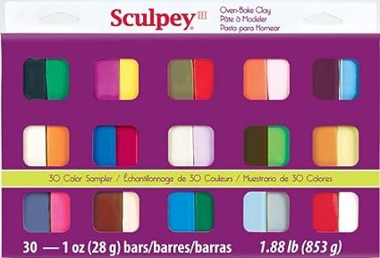 Sculpey III S3 30-1 Oven Bake Clay Sampler, 30 Colors