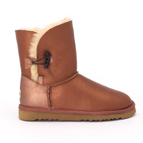 Barberry Touch Boots Sheep Twin Face Sheepskin Bronze Women's Button Bomber EOxqxvgwa