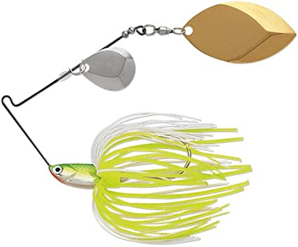 Nickel//Nickel Blade Bright White Shad, 1//2-Ounce Terminator Super Stainless Spinnerbait-Colorado//Willow