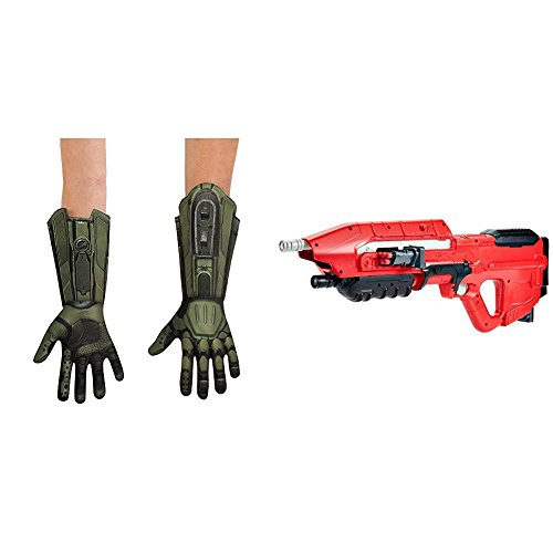 Master Chief Deluxe Child Gloves with BOOMco DXD58 HALO UNSC MA5 Blaster Bundle -