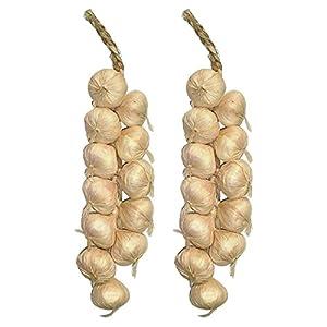 TOOGOO(R) Garlic Strings / Artificial Vegetables / Artificial Garlic Accessory 46cm- 1 Pair 5