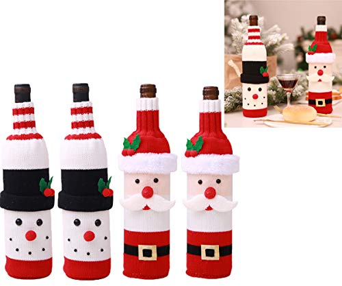 Youmay Christmas Wine Bottle Cover Christmas Theme Gifts, Handmade Wine Bottle Sweater Ugly Christmas Sweater Party Decorations 4 pcs