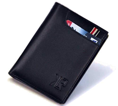 Khaliro Sports Slim Soft Genuine Leather Bifold Men Wallet (Navy) ()