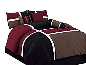 Chezmoi Collection 7 Piece Quilted Patchwork Comforter Set, Queen, Burgundy/Brown/Black