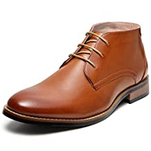 ZRIANG Men's Oxford Dress Leather Lined Cap Toe Angle Boots