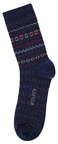 Woolrich Women's Everyday Heritage Merino Wool Fairisle Crew Socks (Medium, Navy (Navy Blue Double Arch)