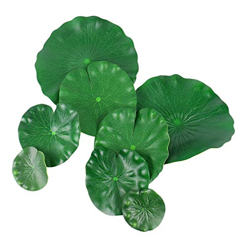 (Monrocco 20 Pack Artificial Floating Foam Lotus Leaves Artificial Foliage Pond Decor Pond Scenery Lotus Leaf)