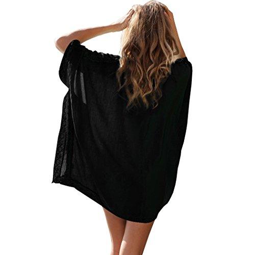 SiDiOU Group Mujeres V-cuello suelta Oversized Playa Cubiertas de bikini Estilo 1-Negro