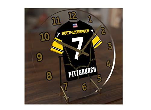 FanPlastic Big Ben Roethlisberger 7 Pittsburgh Steelers Desktop Clock - National Football League Legends Edition !!