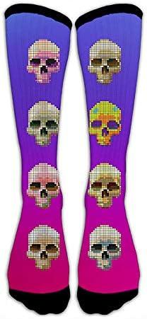 Kompressionssocken mit bunten Totenköpfen, Crew-Socken, verrückte Socken, hohe Socken, personalisierbar, lustige Sportstrümpfe für Teenager, Jungen und Mädchen