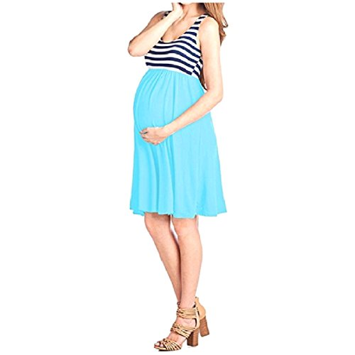 Pregnant Full Long Tank Pinstripe Dress Coolred Blue Sky Circle Women Splice Mid wqwxI0t