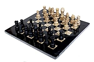 RADICAL Handmade Black and Fossil Coral Marble Full Chess Game Original Marble Chess Set