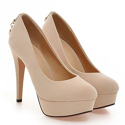 LongFengMa Women High Heel Shoes Slip on Wedding Pumps Platform Party Suede Shoes Heels Beige LmGU1T1