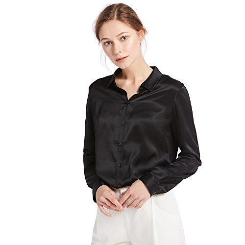 LilySilk Women's 100% Silk Blouse Long Sleeve Ladies Shirts 22 Momme Charmeuse Silk Black Size S