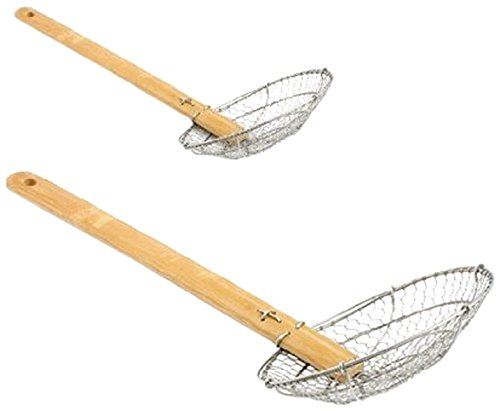 ChefLand 4-Inch and 6-Inch Asian Spider Skimmer Strainer with Bamboo Handle, Stainless Steel, Set of 2 02248