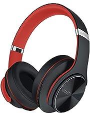 DOQAUS Bluetooth Koptelefoon over ear, [tot 52 uur] Draadloze Koptelefoon met 3 EQ-modi, Dubbele 40 mm Drivers, Geheugen-eiwit-oorkussens en Ruisonderdrukking Geïntegreerde Microfoon voor Smartphone / PC / TV (Rood-zwart)