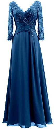 MACloth V Evening Gown The Mother Bride of Neck Women 3 Dresses Long 4 Sleeves Teal rqAYrwI
