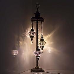 Mosaic Floor Lamp - Turkish Mosaic Globe Floor Lamp,Stunning Moroccan Style, 3 Medium Globe Lampshade